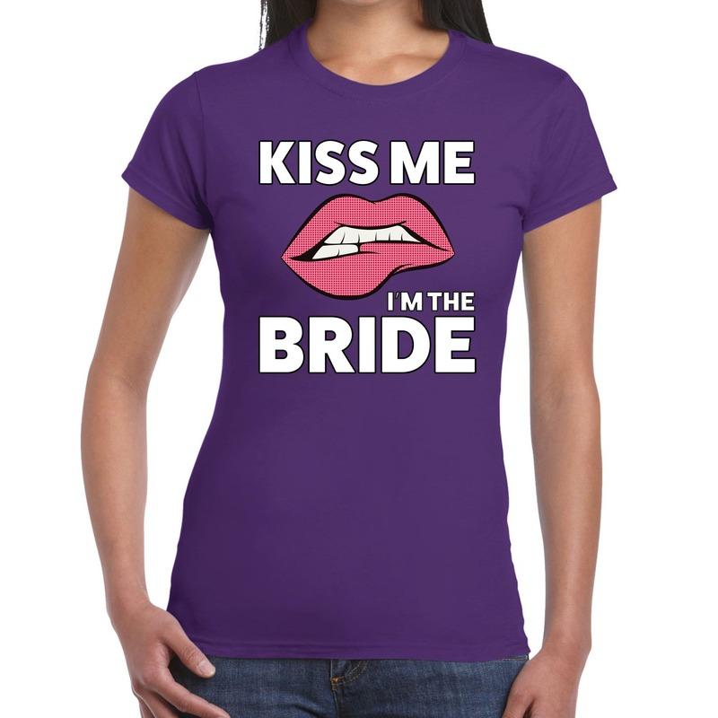 Kiss me i am the bride t-shirt paars dames
