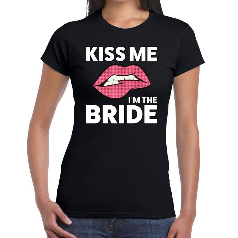 Kiss me i am the bride t-shirt zwart dames