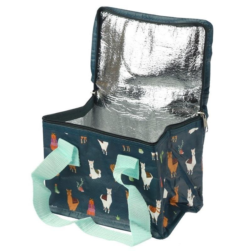 Kleine koeltas alpaca/lama print 4 liter voor 6/sixpack blikjes