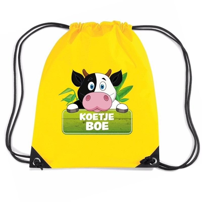 Koetje Boe koeien rugtas - gymtas geel voor kinderen