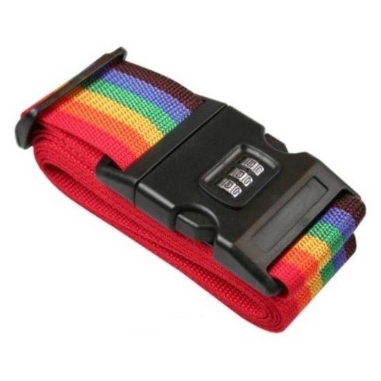 Kofferriem-bagageriem met cijferslot 200 cm regenboog kleuren