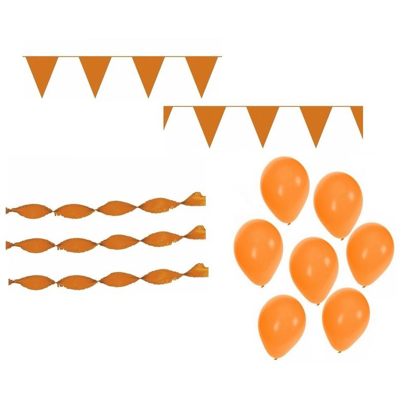 Koningsdag feestpakket met oranje versiering en decoratie