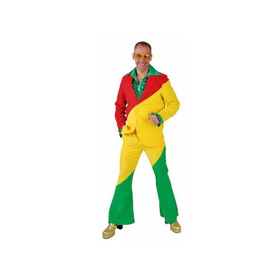 Kostuum rood/geel/groen voor volwassenen
