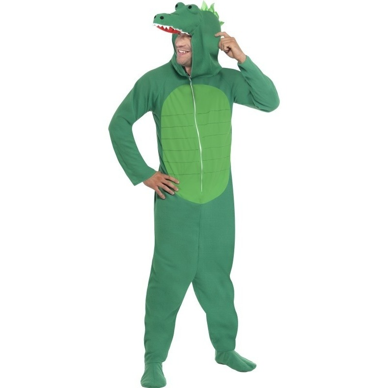 Krokodil onesie kostuum voor volwassenen