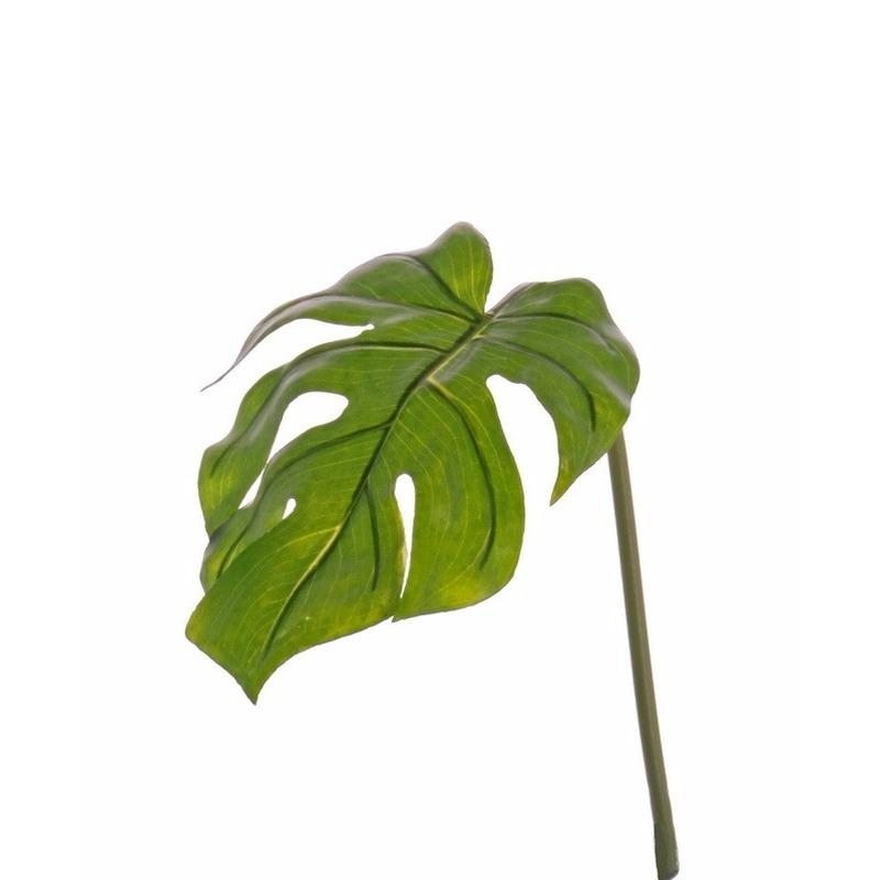 Kunstplant Monstera bladgroen tak 55 cm