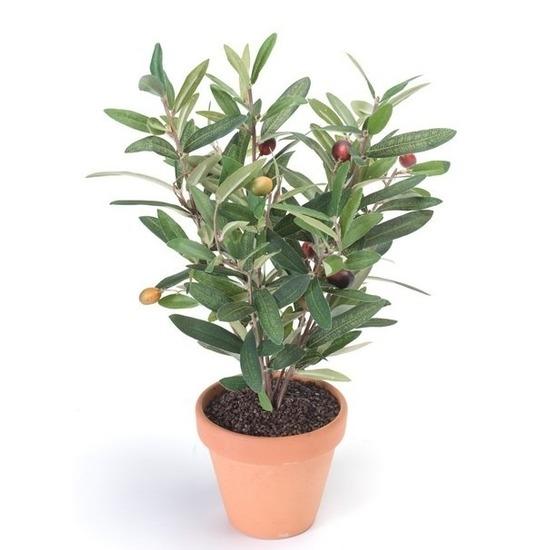 Kunstplant olijfboompje groen in terracotta pot 35 cm
