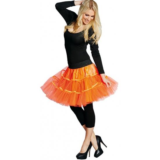 Lange tule petticoat dames neon oranje