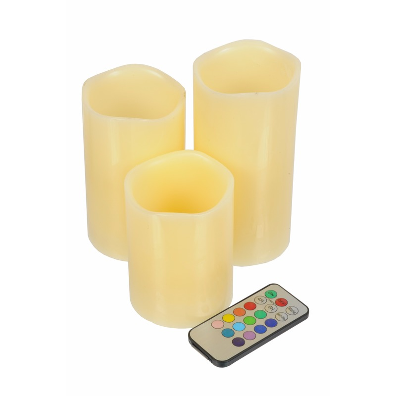 LED kaarsen-stompkaarsen set 3 stuks met afstandsbediening