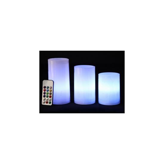 LED kaarsen/stompkaarsen set multikleur 3 stuks