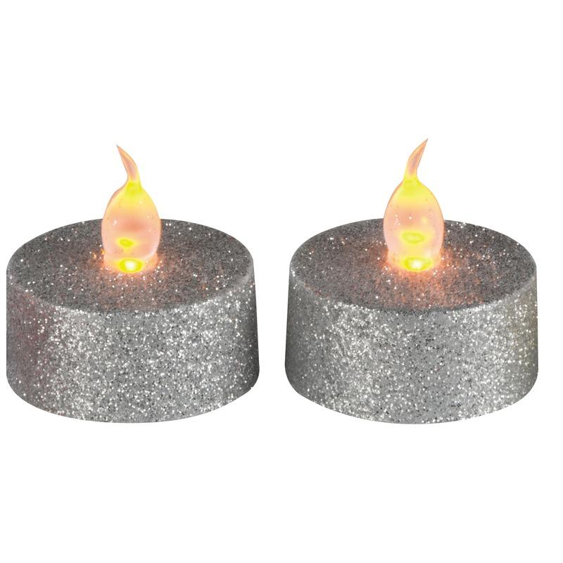 LED theelichten /waxinelichten met glitters zilver 2 stuks
