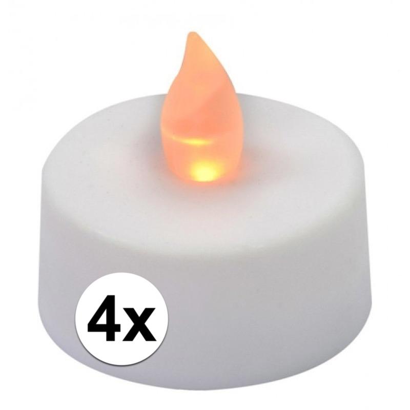 LED theelichten/waxinelichten wit 4 stuks