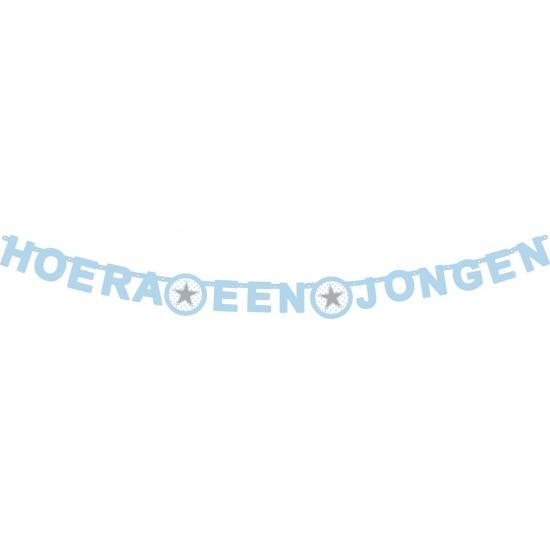 Letterslinger ster hoera een jongen 175 x 11 cm