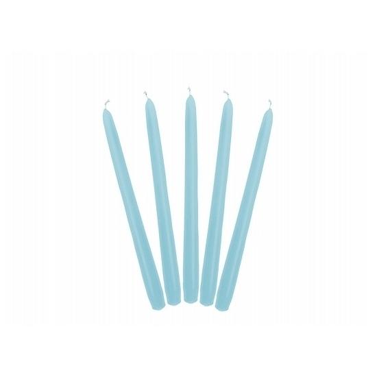 Lichtblauwe dinerkaarsen 24 cm