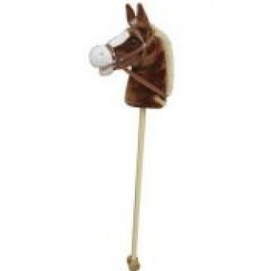 Lichtbruin stokpaardje met beweging en geluid 97 cm