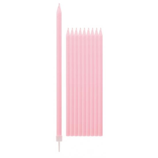 Lichtroze kaarsen 15,5 cm