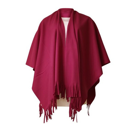 Luxe dames omslag poncho fuchsia