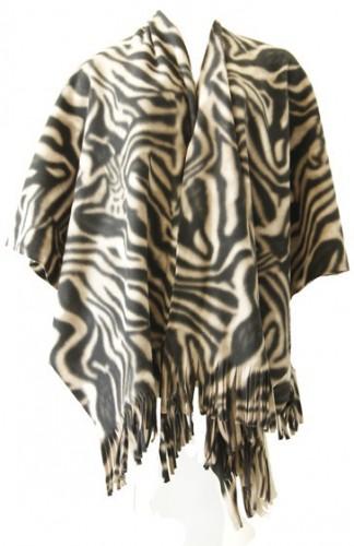 Luxe dames omslag poncho zebraprint