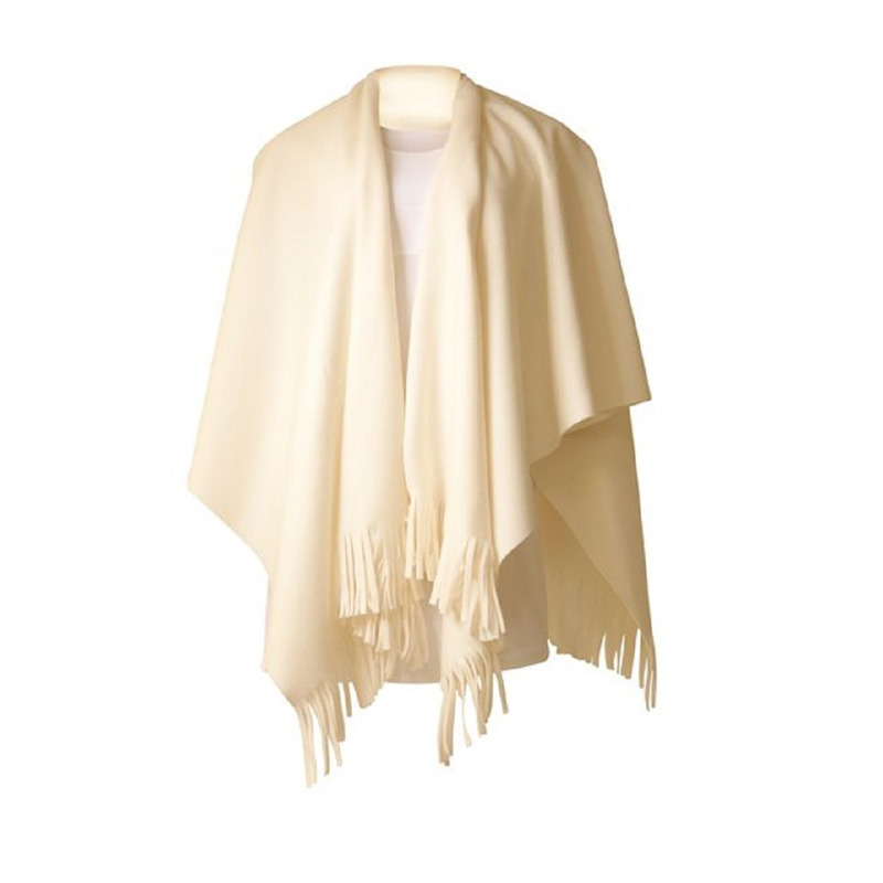 Luxe dames omslagdoek poncho wit 180 x 140 cm