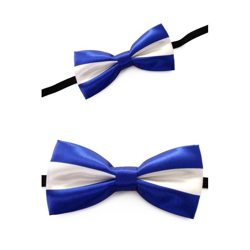 Luxe strik blauw met wit