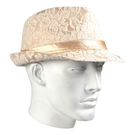 Luxe trilby hoedje met kant