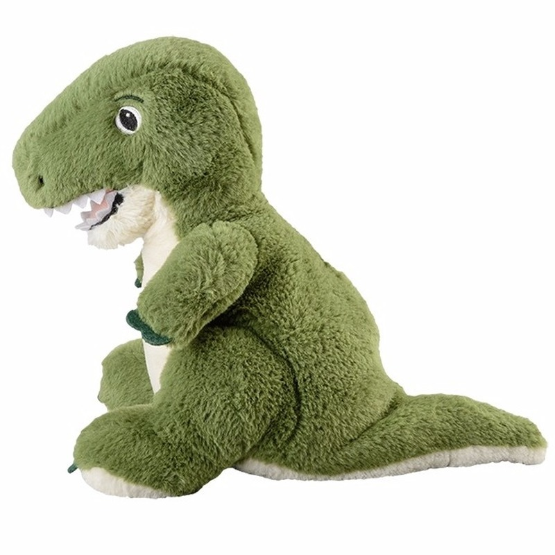 Magnetron warmte knuffel dinosaur groen 35 cm