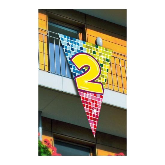Mega decoratie vlag 2 jaar 90 x 150 cm