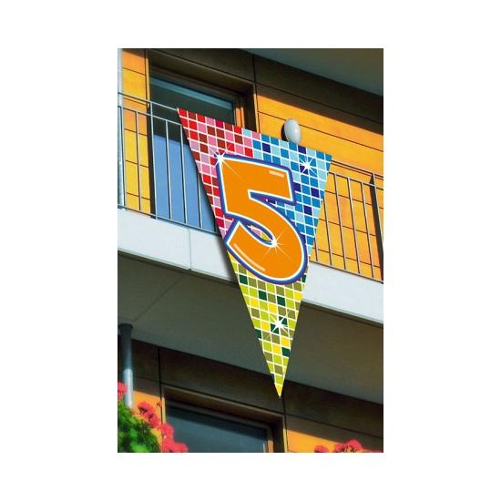 Mega decoratie vlag 5 jaar 90 x 150 cm