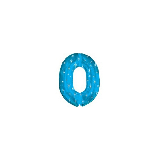 Mega folie ballon cijfer nul 0 blauw