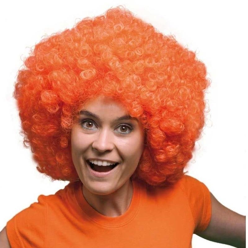 Mega oranje afro pruik