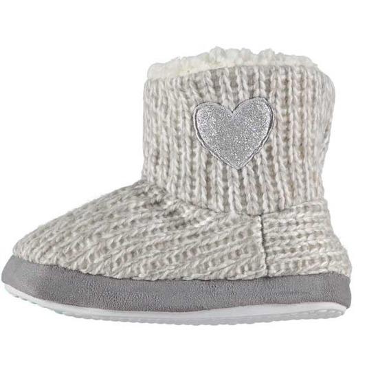 Meisjes hoge sloffen/pantoffels met hart grijs maat 29-30