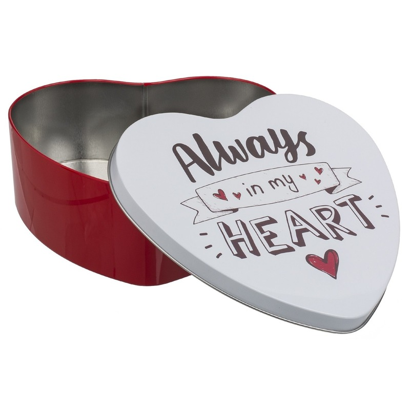 Metalen koekblikje rood hart 18 x 7 cm