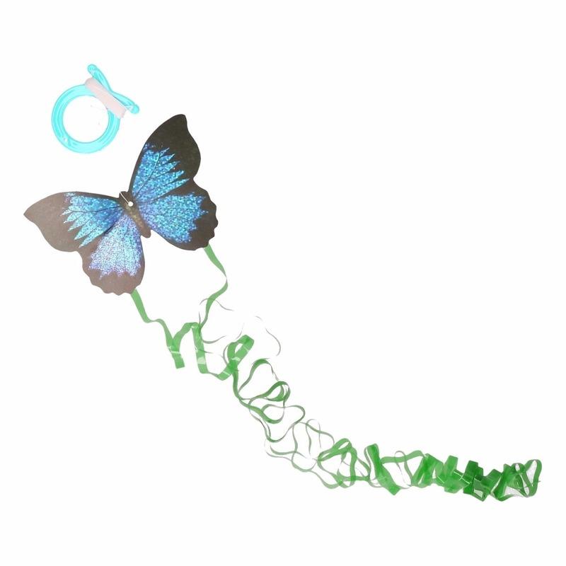 Mini donkerblauwe vlinder vlieger 10 x 7 cm