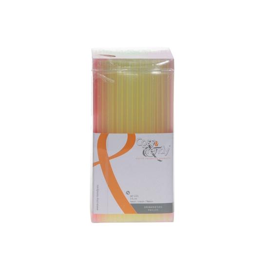 Mini gekleurde rietjes 14 cm