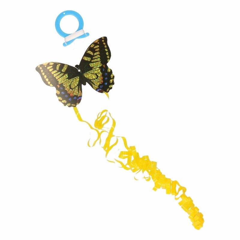 Mini gele vlinder vlieger 10 x 7 cm