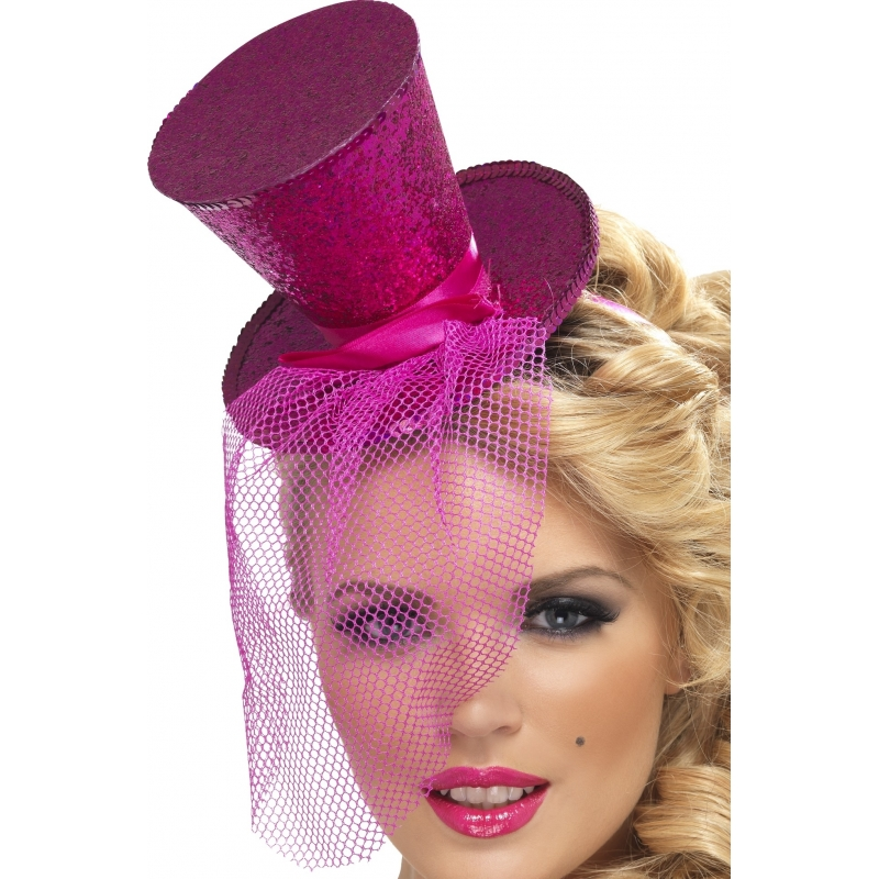 Mini hoge hoed op diadeem roze