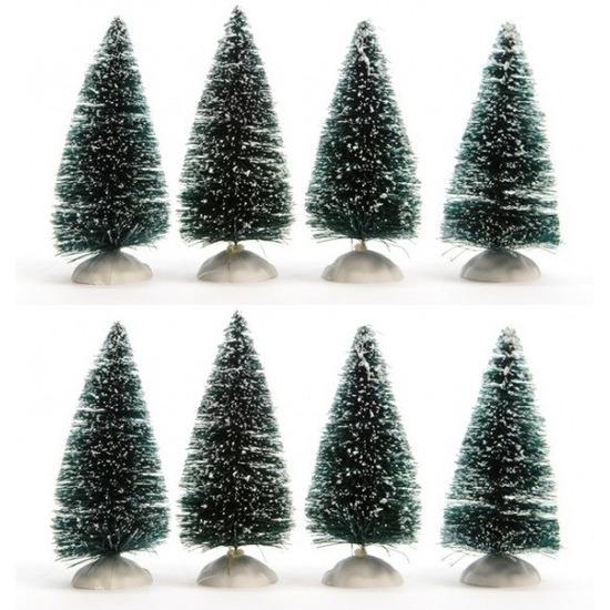 Miniatuur boompjes met sneeuw 8 stuks