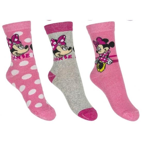 Minnie Mouse meisjes sokken 3-pak lichtroze