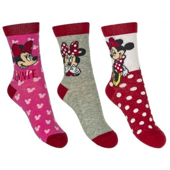 Minnie Mouse meisjes sokken 3-pak rood