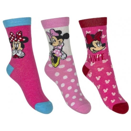Minnie Mouse meisjes sokken 3-pak roze