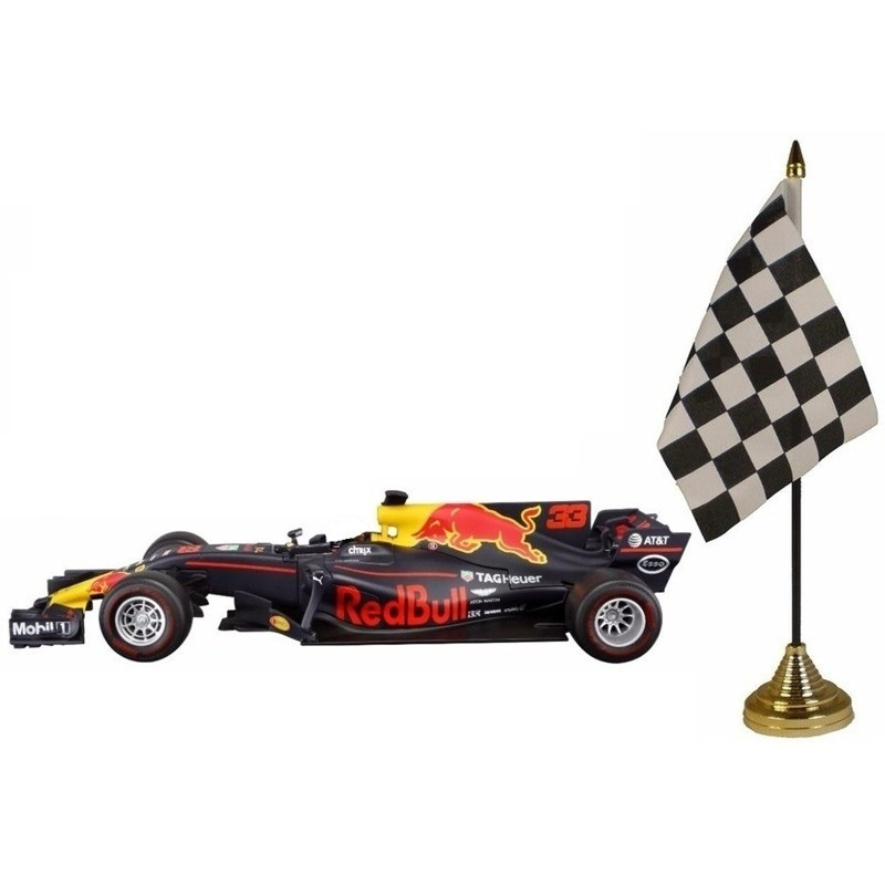 Modelauto Max Verstappen 1:43 met finish tafelvlaggetje
