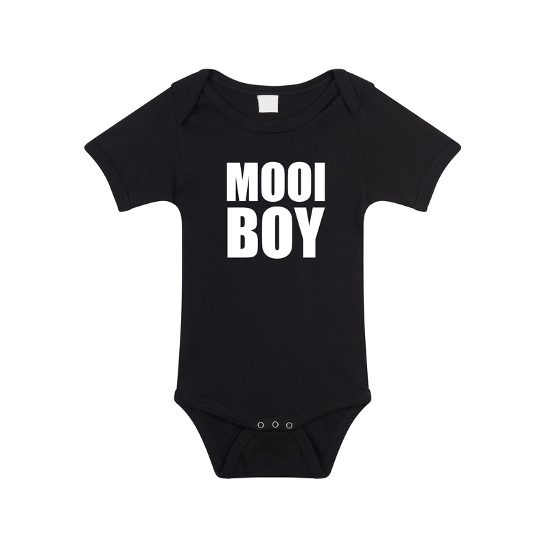 Mooiboy tekst rompertje zwart baby