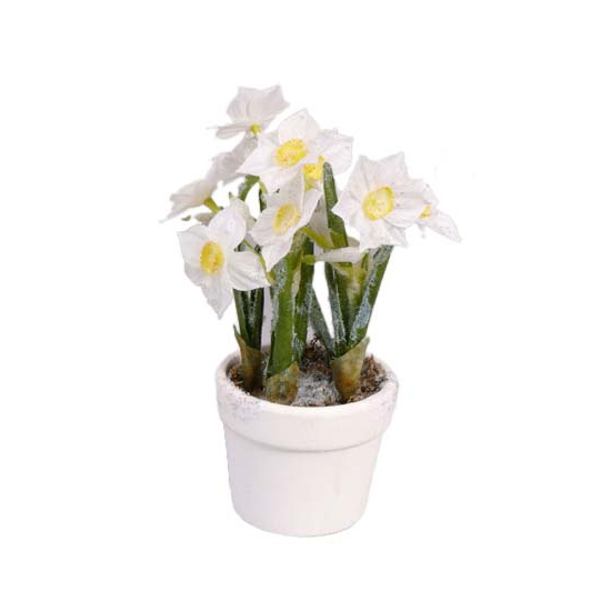 Narcissen kunstbloemen in witte pot 23 cm