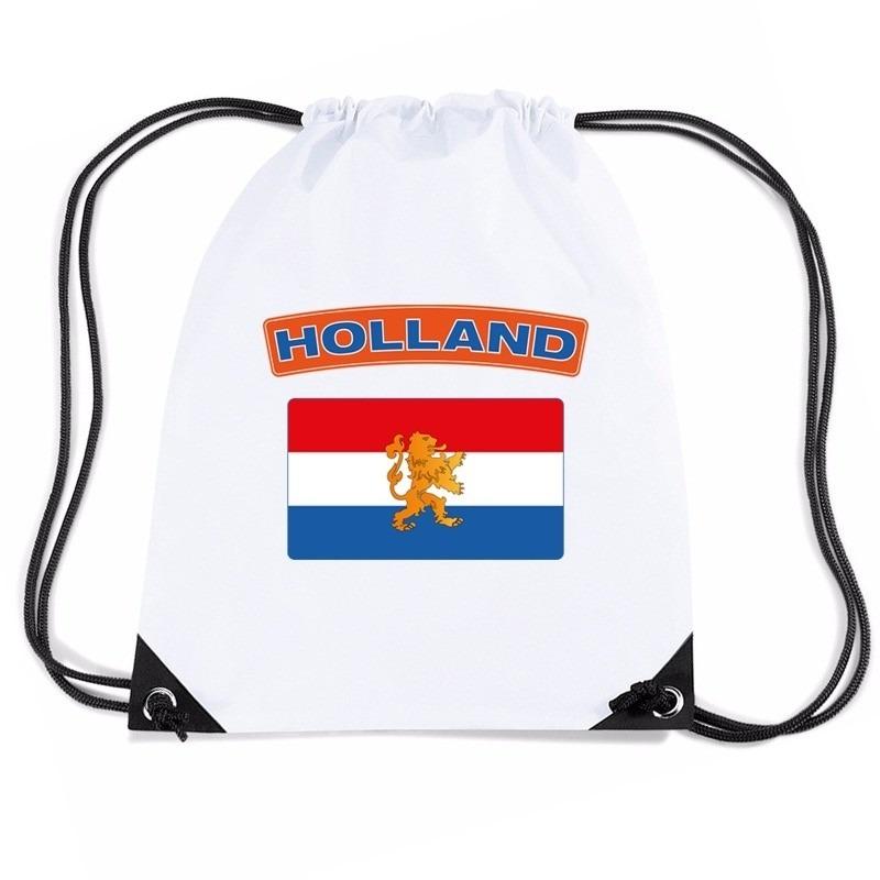 Nederland nylon rugzak wit met Nederlandse vlag