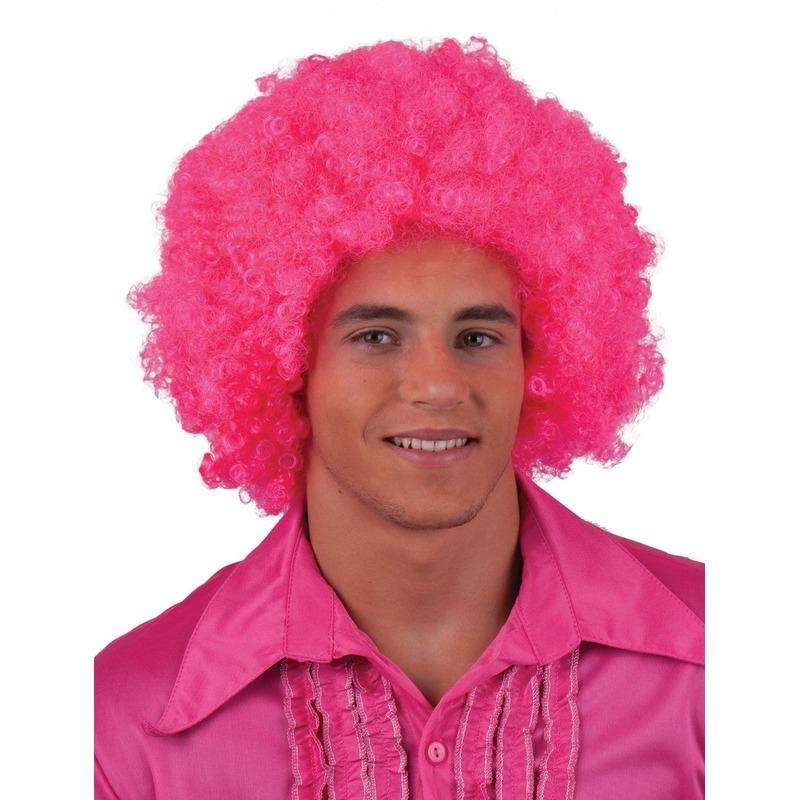 Neon roze afropruik