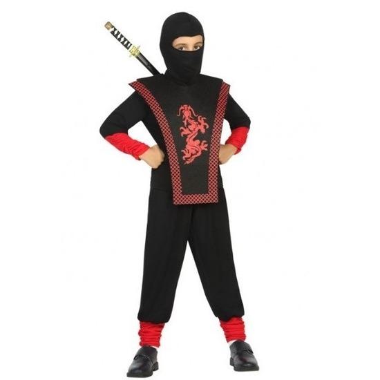 Ninja verkleed kostuum zwart/rood voor jongens