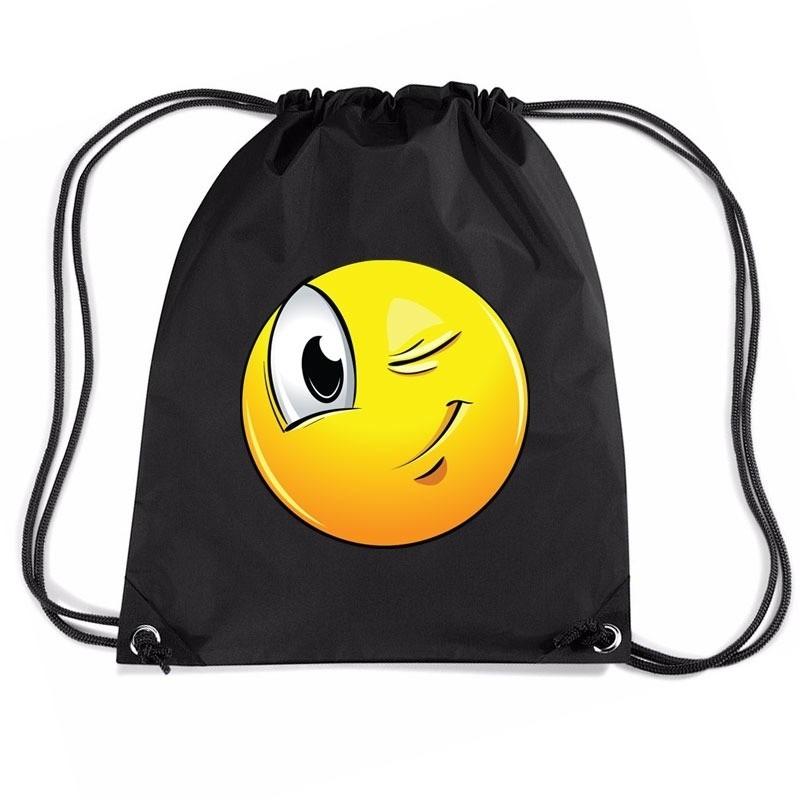 Nylon emoticon smile knipoog rugzak zwart met rijgkoord