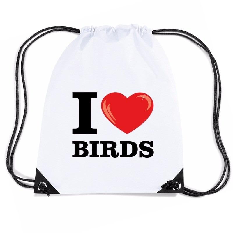Nylon I love birds/ vogels rugzak wit met rijgkoord
