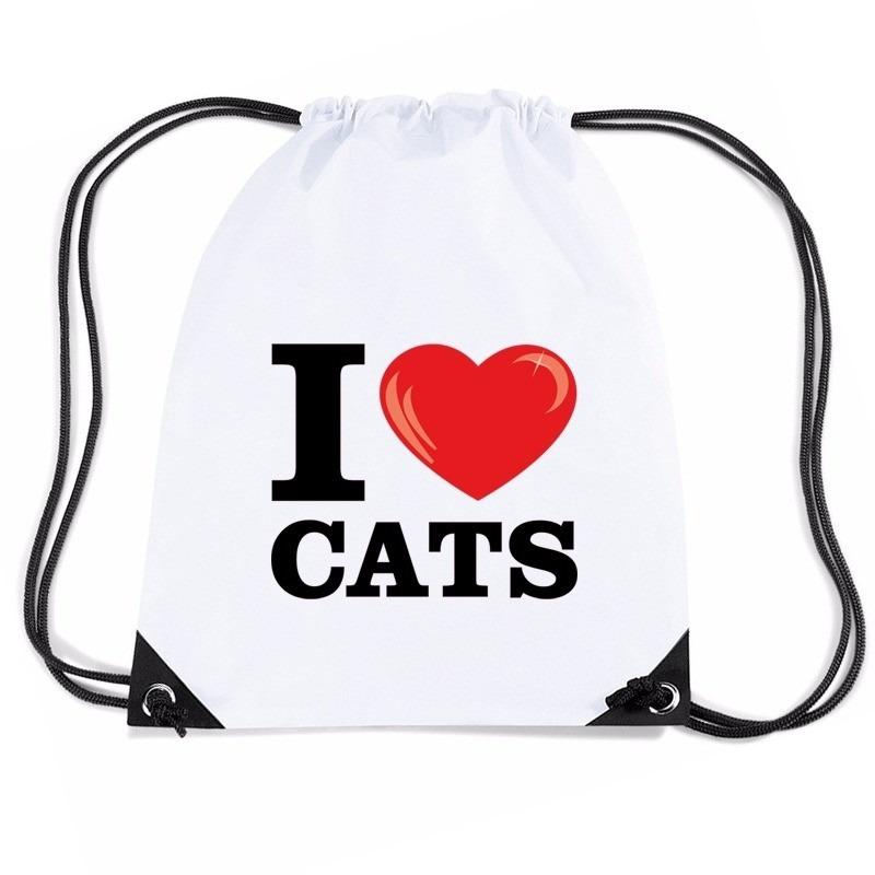 Nylon I love cats/ katten/ poezen rugzak wit met rijgkoord