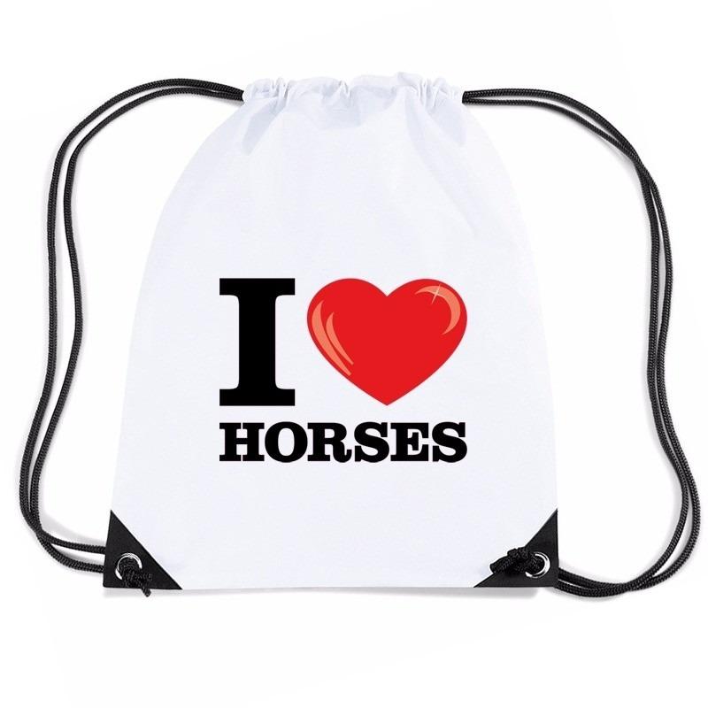 Nylon I love horses/ paarden rugzak wit met rijgkoord
