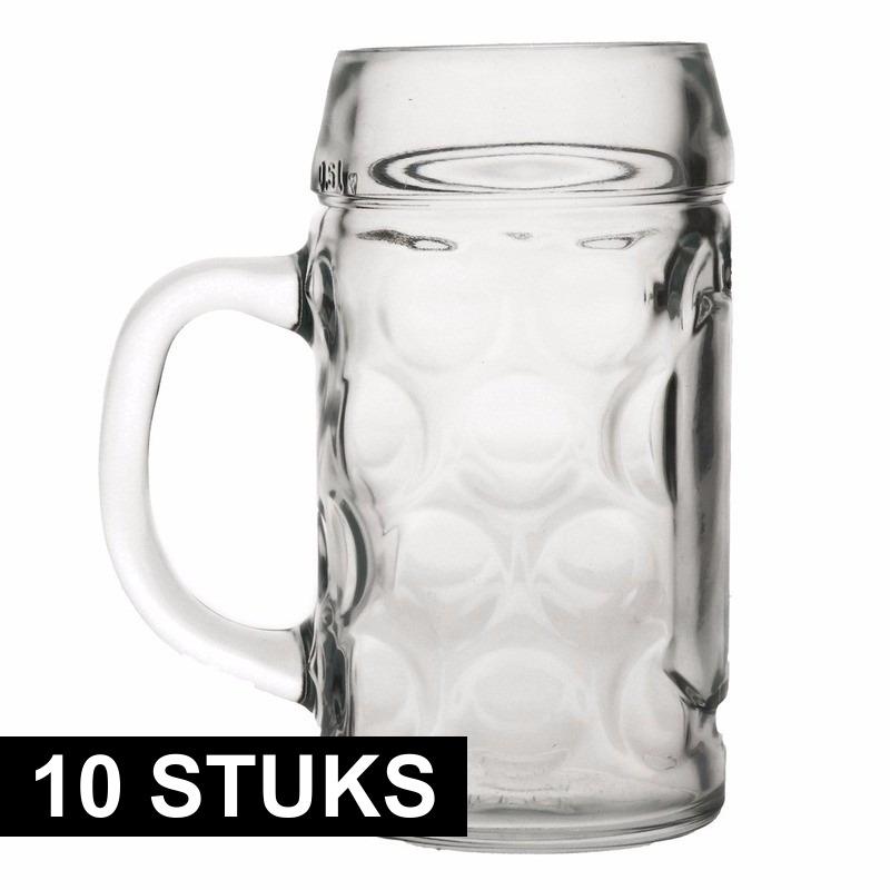 Oktoberfest - 10x Bierpullen/Bierglazen 1 liter Oktoberfest glazen